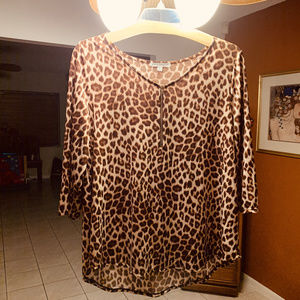 Plus Size Leopard Blouse Top Zipper NWOT Size 1x